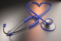 Digital Illustration of Heart-shaped Stethoscope