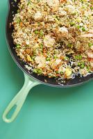 Overhead View of Shrimp Fried Rice in Skillet with Peas, Carrots and Egg, Studio Shot