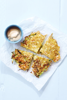 Japanese Cuisine, Okonomiyaki with Shrimp, Green Onions and Mayo Dip, Studio Shot