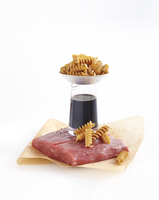 Ingredients for Healthy Dinner including Whole Wheat Pasta, Vinegar and Steak, Studio Shot