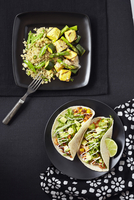 Overhead View of Quinoa with Zucchini, Asparagus and Tofu and Tacos with Bean Mix and Avocado, Studio Shot 11030039446| 写真素材・ストックフォト・画像・イラスト素材|アマナイメージズ