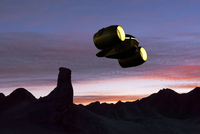 Digitally Generated Image of Cargo Ship Flying over Rocky Planet