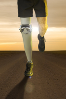 Illustration of runner with orthopedic leg crossing the desert
