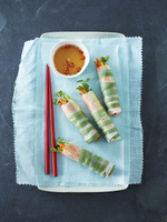 Overhead View of Vietnamese Rice Paper Rolls (Goi Cuon) with Dipping Sauce, Studio Shot
