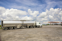 Tanker truck at gas station outside Quebec City, Quebec, Canada