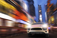 Illustration of a Luxury SUV in motion at Times Square at night, New York City, New York, USA