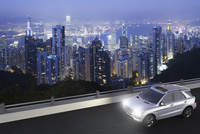 Illustration of a Luxury SUV in motion on road at night, Hong Kong, China