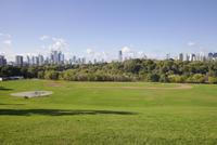 Toronto skyline over Riverdale Park, Toronto, Ontario, Canada