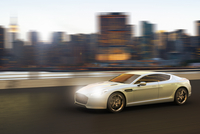 Illustration of luxury sports car in motion in front of Manhattan skyline, New York City, New York, USA