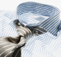 Close-up of Striped Dress Shirt with Tie, Studio Shot