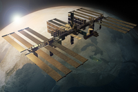 Illustration of International Space Station orbiting the earth