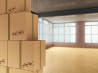 3D-Illustration of Pile of Cardboard Boxes to be Returned in Loft