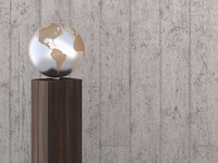 Illustration of metal globe on wooden stand, showing North and South America, studio shot on grey, wooden background