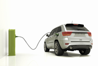 Electric/Hybrid Car Plugged into Charger