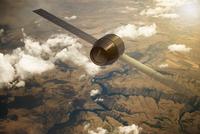 Illustration of satellite orbiting the earth 11030042181| 写真素材・ストックフォト・画像・イラスト素材|アマナイメージズ