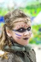 Girl Dressed up at School for Halloween as Viking Shieldmaiden, Toronto, Ontario, Canada
