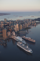 Overview of Vancouver with Cruise Ships, Vancouver, British Columbia, Canada