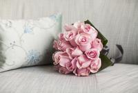 Bouquet on Sofa next to Cushion, Toronto, Ontario, Canada