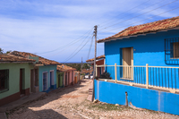 Colorful buildings, street scene, Trinidad, Cuba, West Indies, Caribbean