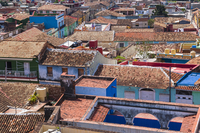 Overview of tiled rooftops of Houses, Trinidad, Cuba, West Indies, Caribbean