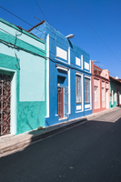 Colorful buildings, street scene, Sanctis Spiritus, Cuba, West Indies, Caribbean
