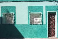 Close-up of Colorful building, street scene, Sanctis Spiritus, Cuba, West Indies, Caribbean