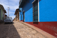 Classic Car on Cobblestone Street, Trinidad de Cuba, Cuba