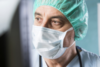 Close-up of Surgeon at Computer