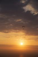 Silhouette of Parasailing at Sunset, Parque Raimondi along Malecon Cisneros, Miraflores, Lima, Peru