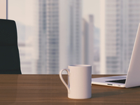 Digital Illustration of Desk with Arm Chair, Laptop and Mug in front of Skyline