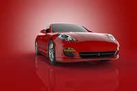 Illustration of red, luxury sports car, studio shot on red background
