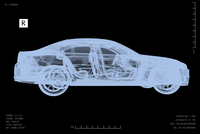 Illustration of conceptual image of x-ray of car for performing car failure diagnosis, studio shot on black background