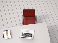 Digital Illustration of Overhead View of Desk with Red Chair, Laptop and Books