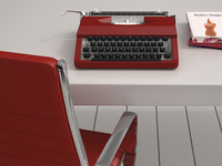 Digital Illustration of Desk with Red Chair, Red Typewriter and Books