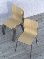 Digital Illustration of Pile of Chairs with one Seperated on Hardwood Floor