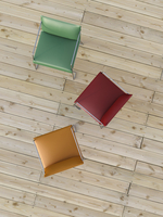 Digital Illustration of Overhead View of Red, Green, and Orange Chairs on Hardwood Floor