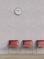 Digital Illustration of Three Red Chairs in a Row in front of Concrete Wall