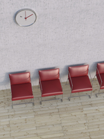 Digital Illustration of Overhead View of Four Red Chairs in a Row in front of Concrete Wall