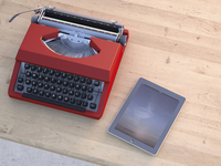 Digital Illustration of Old Typewriter and Modern Tablet Computer on Wooden Desk