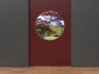 Digital Illustration of Grey and Red Concrete Walls with view through Round Window into Japanese Garden 11030043862| 写真素材・ストックフォト・画像・イラスト素材|アマナイメージズ