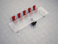 Illustration of glass conference table with business chairs on granite tiles, studio shot