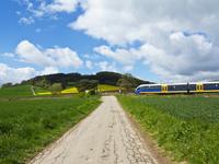 Farm road with train at railway crossing, Weser Hills,  North Rhine-Westphalia, Germany