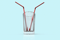 Digital Illustration of Glass with Two Straws