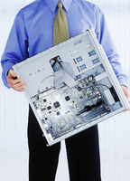 Man Holding Open Computer