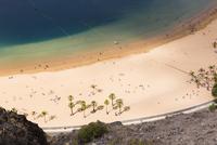 Aerial View of Sandy Beach, Palm Trees and Boats, Playa de las Teresitas, Tenerife, Canary Islands