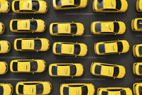 Digital Illustration of Overhead View of Traffic Jam of Yellow Taxis