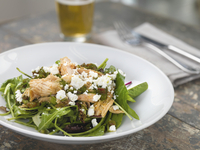Pulled Chicken and Feta Salad with Mixed Greens and Beer, Studio Shot
