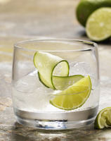 Cocktail with Lime and Cucumber Garnish, Studio Shot