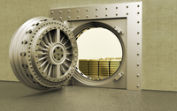Illustration of an open bank vault with gold bars inside