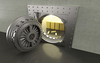 Illustration of open bank vault with gold bars inside